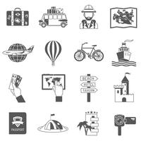 Conjunto de ícones de viagens preto