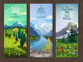 Conjunto de bandeiras verticais de paisagem de verão vetor