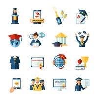 Conjunto de ícones plana de formatura da escola