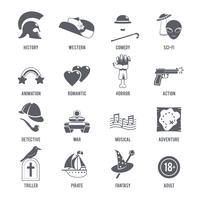 Conjunto de ícones de gêneros de filme preto vetor