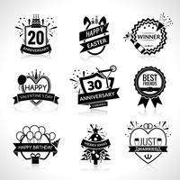 Conjunto de emblemas preto de celebração