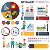Infográficos de pessoas de supermercado vetor
