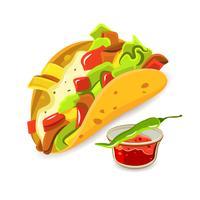 conceito de taco de comida mexicana vetor