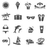 Conjunto de ícones de verão e viagens vetor