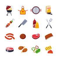 Conjunto de ícones de churrasco e grelhados