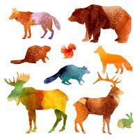 Conjunto de animais em aquarela
