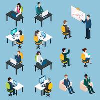 Coleção de pictogramas isométrica de pessoas de negócios
