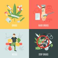 Drogas Flat Set vetor