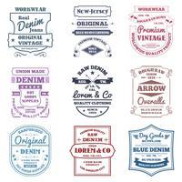 Emblemas de tipografia de jeans vetor