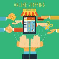 Impressão de conceito de mãos de compras on-line