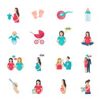 Ícones de gravidez planas