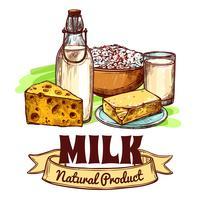 Conceito de esboço de produto de leite