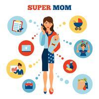 Conceito de mãe de empresária vetor