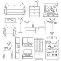 Conjunto de linha de ícones interiores vetor
