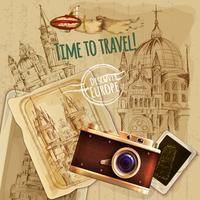 Viagem de Europa com o poster vintage da câmera vetor