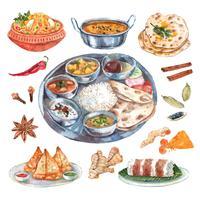 Composição de ingredientes alimentares de restaurante indiano vetor