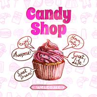 Cartaz da loja de doces vetor