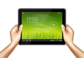 Mão com tablet vetor