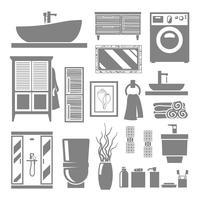 Ícones de móveis de casa de banho vetor