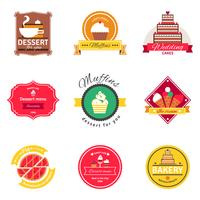 Conjunto de emblemas plana de confeitaria e padaria vetor