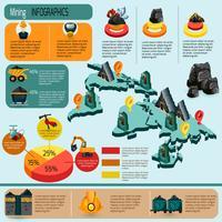 Conjunto de infográficos de mineração vetor