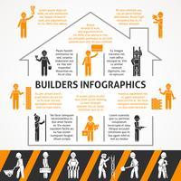 Conjunto de infográfico de cor lisa de construtores