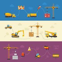 Banners de processo de construção vetor