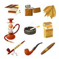 Conjunto de ícones de tabaco
