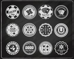 Conjunto de rótulos de quadro de giz de pôquer