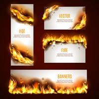 Banners de fogo quente definido vetor