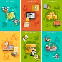 Novo cartaz de composição de ícones plana de logística