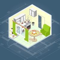Interior de cozinha isométrico