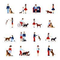 Conjunto de pessoas com cães