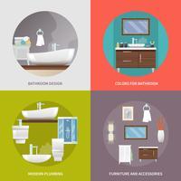 Ícones planas de móveis de casa de banho