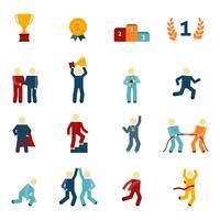Concorrência Icons Flat Set vetor