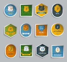 monogram shields stickers set vetor