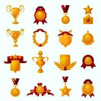 Conjunto de desenhos animados de prêmios vetor