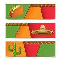 Banners mexicanos horizontais vetor