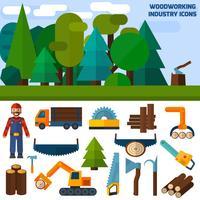 Ícones de indústria de madeira