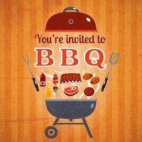 Cartaz de anúncio de evento de convite de churrasco vetor