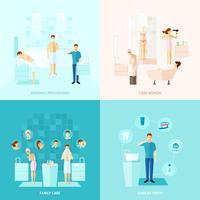 Conjunto de ícones de cuidados pessoais e familiares vetor