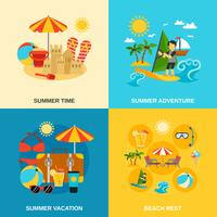 Férias de verão e conjunto de ícones de aventura