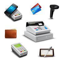 Conjunto de pagamento realista