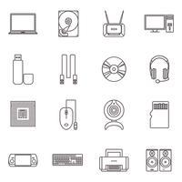 Hardware de computador e conjunto de ícones de acessórios
