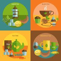 Hora do chá 4 ícones lisos quadrado composição