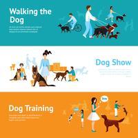 Pessoas com conjunto de Banner de cães vetor