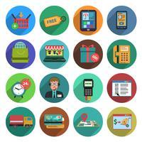 Conjunto de ícones plana de compras on-line vetor