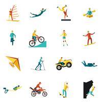 Conjunto de ícones plana de esportes radicais