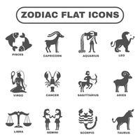 Conjunto de ícones do Zodíaco vetor