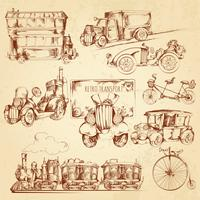 Esboço de transporte vintage vetor